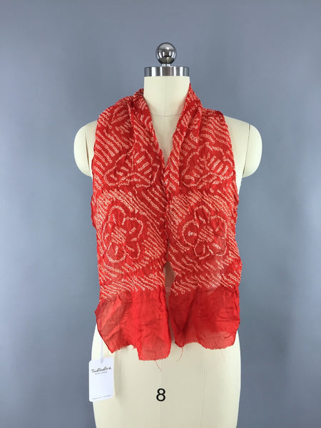 Vintage 1960s Silk Kimono Obiage Scarf in Red and White Floral Shibori