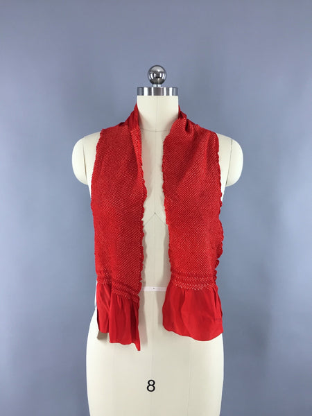 Vintage 1960s Silk Kimono Obiage Scarf with Red & White Shibori Pattern