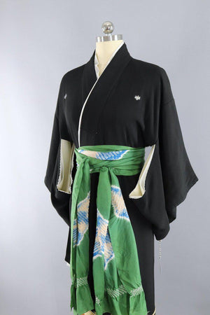 Vintage 1960s Silk Kimono Robe / Black & Gold Embroidered Peacocks-ThisBlueBird - Modern Vintage