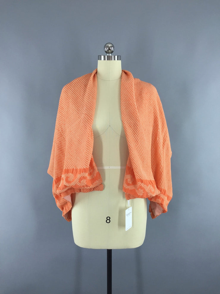 Vintage 1960s Silk Wrap Shawl in Orange Shibori Kimono Silk Accessories ThisBlueBird