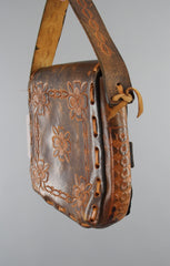Vintage 1960s Tooled Leather Handbag Purse / Hippie Bohemian Boho Accessories ThisBlueBIrd