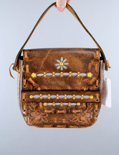 Vintage 1960s Tooled Leather Handbag Purse / Hippie Bohemian Boho