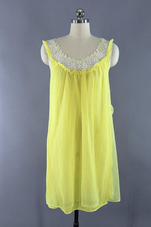 Vintage 1960s Yellow Chiffon Lace Nightgown-ThisBlueBird - Modern Vintage