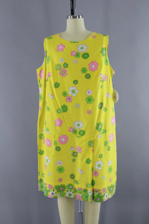 Vintage 1960s Yellow Floral Print Jumpsuit - ThisBlueBird