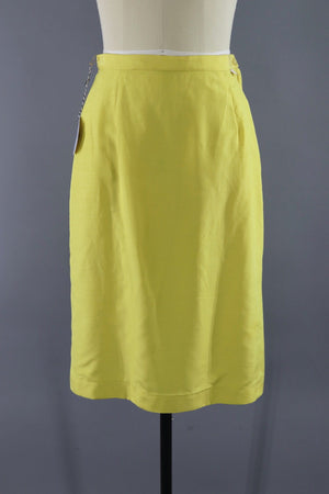 Vintage 1960s Yellow Silk Pencil Skirt-ThisBlueBird - Modern Vintage