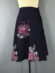 Vintage 1970s Batik Wrap Skirt with Navy Blue and Pink Floral Print Bottoms ThisBlueBird - Sale
