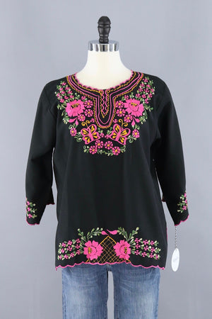 Vintage 1970s Black Mexican Embroidered Tunic Blouse - ThisBlueBird