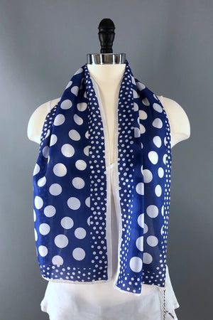 Vintage 1970s Blue and White Polka Dot Print Scarf-ThisBlueBird - Modern Vintage