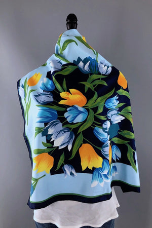 Vintage 1970s Blue and Yellow Tulips Floral Print Scarf-ThisBlueBird - Modern Vintage