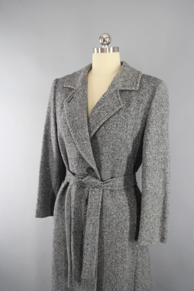 Vintage 1970s Blue Grey Pendleton Wool Tweed Trench Coat Outerwear ThisBlueBird