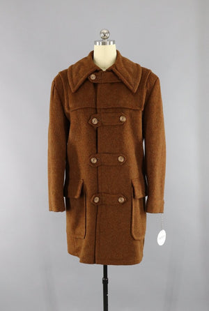 Vintage 1970s Brown Wool Duffle Coat - ThisBlueBird