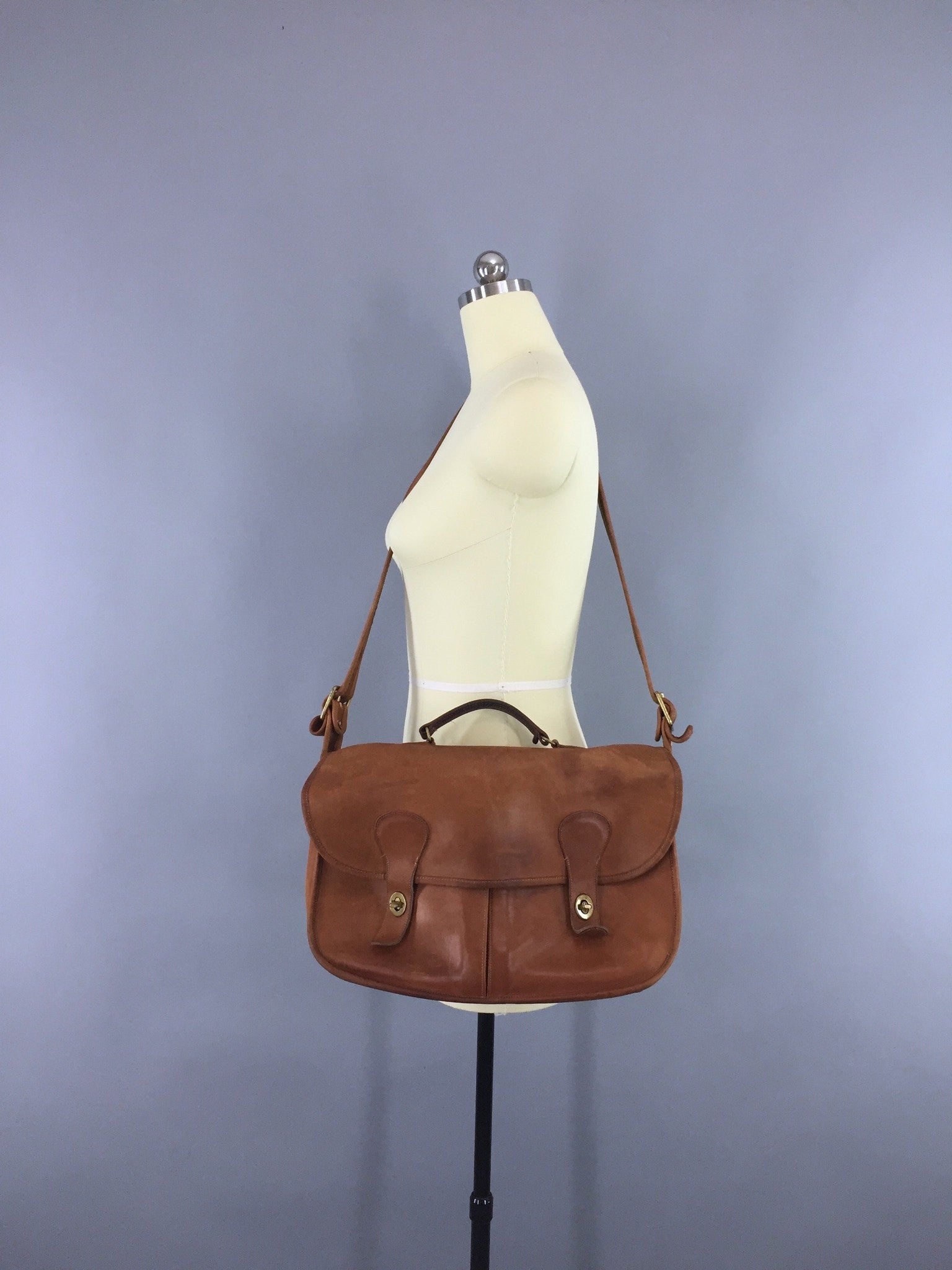 Vintage 1970s Coach Tan Leather Musette Messenger Bag Accessories ThisBlueBird