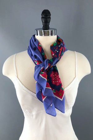 Vintage 1970s Cotton Scarf / Blue and Red Floral-ThisBlueBird - Modern Vintage