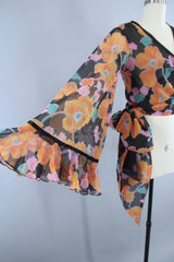 Vintage 1970s Cropped Wrap Blouse in Black Floral Print Chiffon by Scott Barrie Tops ThisBlueBird