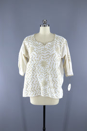 Vintage 1970s Embroidered Tunic / Ivory White Cotton Tops ThisBlueBird