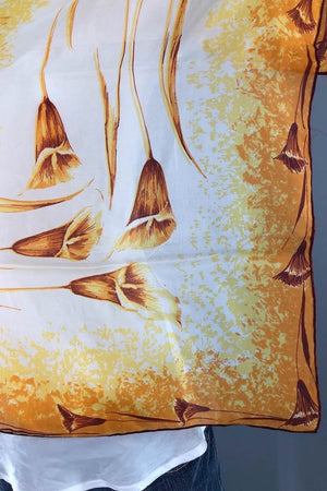 Vintage 1970s Gold Orange Lily Floral Print Scarf-ThisBlueBird - Modern Vintage