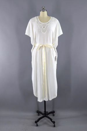 Vintage 1970s Greek Cotton Gauze Caftan Dress - ThisBlueBird