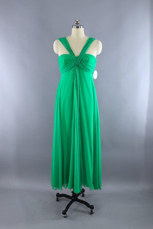 Vintage 1970s Green Grecian Goddess Gown - ThisBlueBird