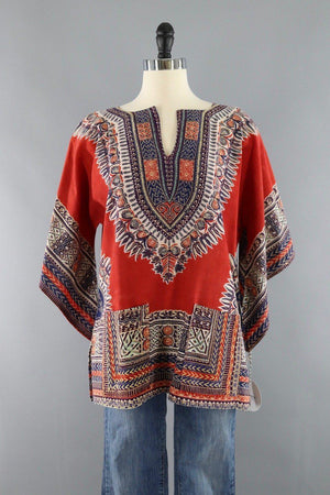Vintage 1970s Hippie Tunic / Red Multicolor - ThisBlueBird