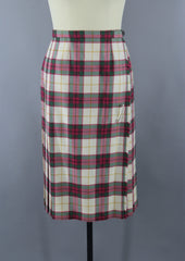 Vintage 1970s Ivory Plaid Wool Kilt by Archie Brown Bottoms ThisBlueBird