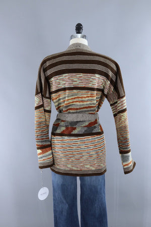 Vintage 1970s Kennington Brown Striped Wrap Cardigan Sweater-ThisBlueBird - Modern Vintage