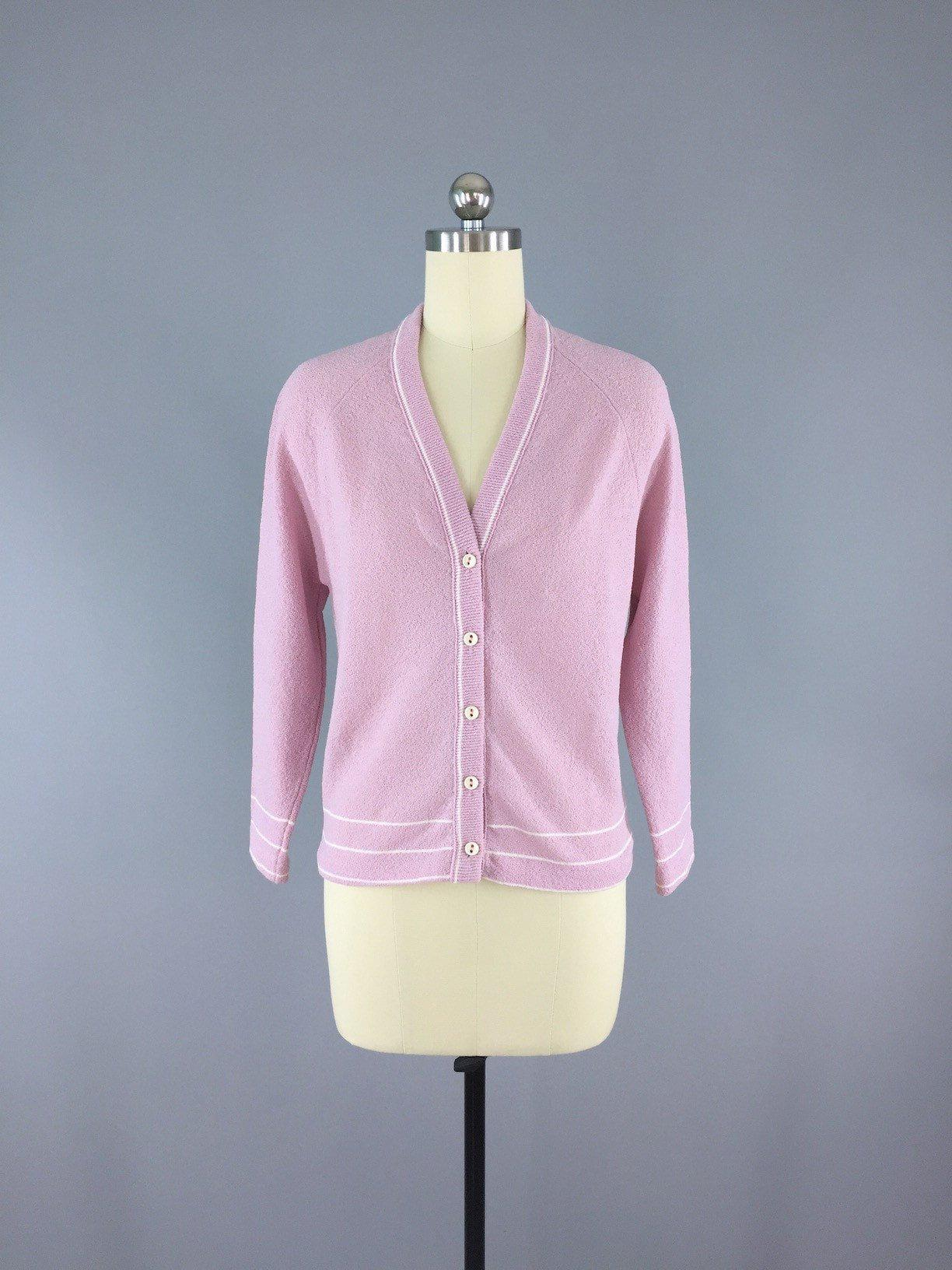 Vintage 1970s Lavender Pink Cardigan Sweater Tops ThisBlueBird - Sale