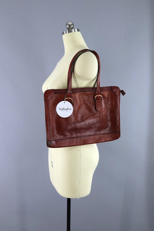 Vintage 1970s Leather Satchel Bag Accessories ThisBlueBird