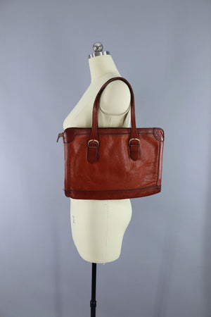 Vintage 1970s Leather Satchel Bag - ThisBlueBird