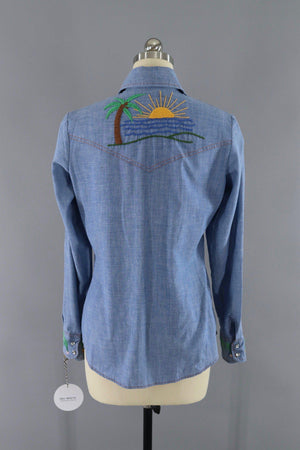 Vintage 1970s Levi's Chambray Denim Western Shirt with Custom Hand Embroidered Beach and Palm Tree-ThisBlueBird - Modern Vintage