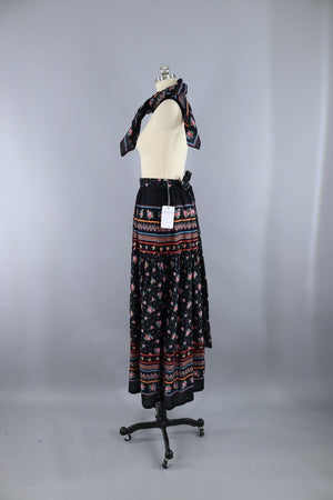 Vintage 1970s Maxi Skirt with Matching Scarf / Black Floral Print Bottoms ThisBlueBird