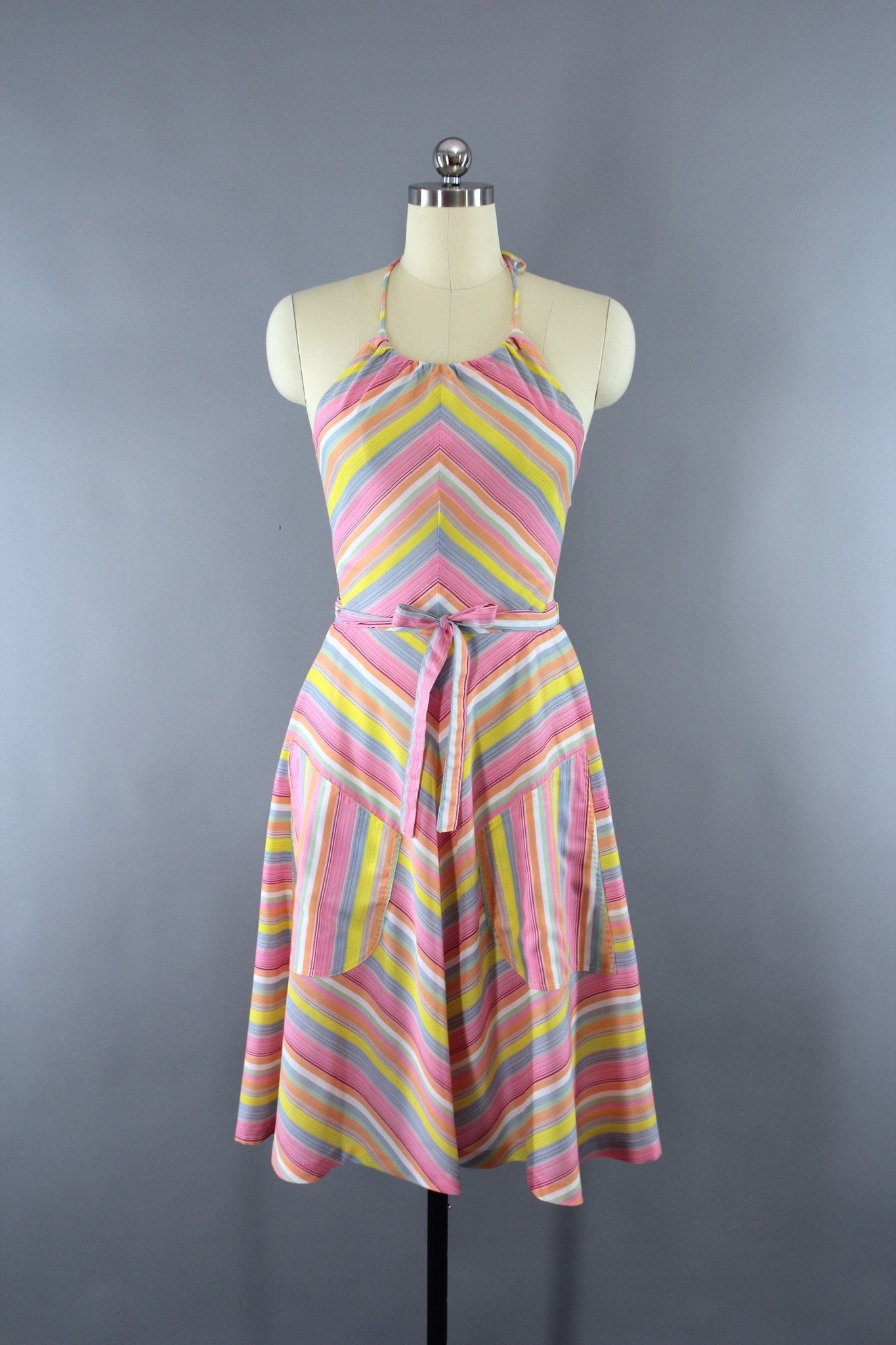 Vintage 1970s Mindy Malone Chevron Stripes Halter Dress Dress ThisBlueBird