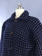 Vintage 1970s Navy Blue Fisherman's Cardigan Sweater Tops ThisBlueBird