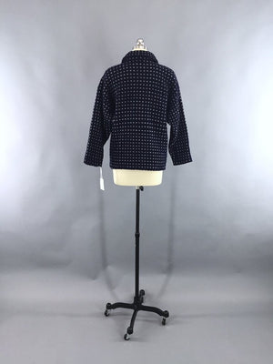 Vintage 1970s Navy Blue Fisherman's Cardigan Sweater - ThisBlueBird