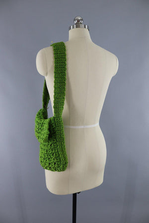 Vintage 1970s Olive Army Green Crocheted Shoulder Bag - ThisBlueBird