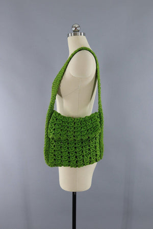 Vintage 1970s Olive Army Green Crocheted Shoulder Bag-ThisBlueBird - Modern Vintage