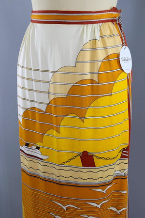 Vintage 1970s Paganne Maxi Skirt / Golden Nautical Novelty Print-ThisBlueBird - Modern Vintage