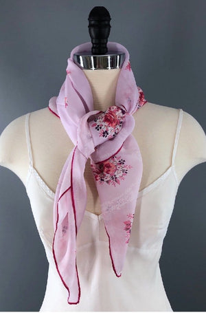 Vintage 1970s Pink Floral Print Scarf-ThisBlueBird - Modern Vintage