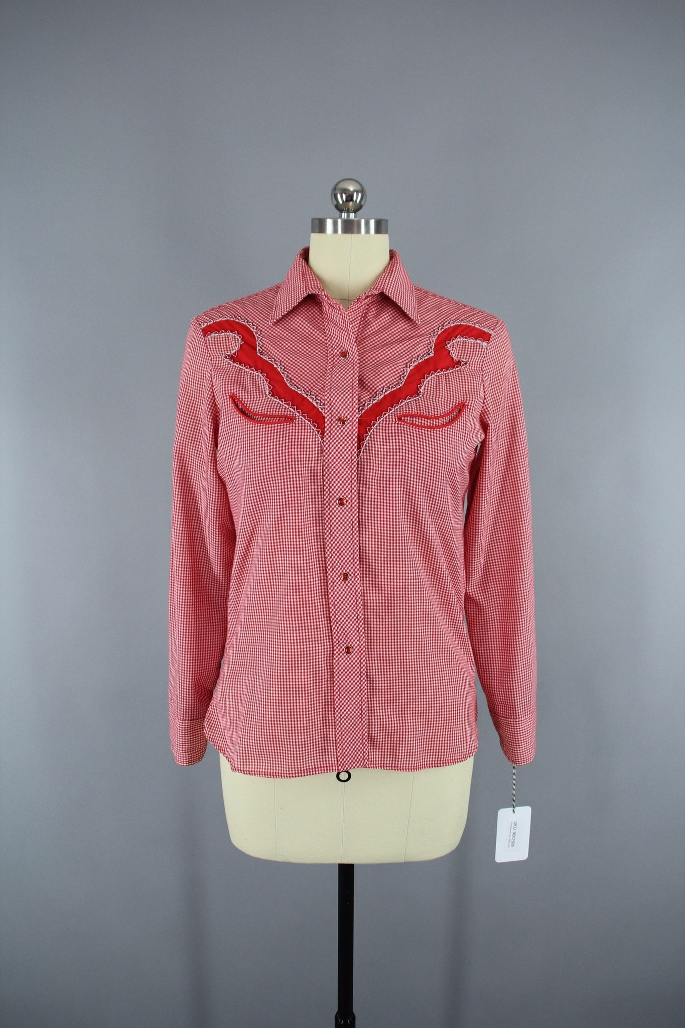 Vintage 1970s Red Gingham Karman Western Rockabilly Style Shirt Tops ThisBlueBird