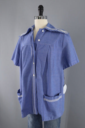 Vintage 1970s Sailor Style Chambray Maternity Shirt-ThisBlueBird - Modern Vintage