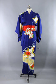 Vintage 1970s Silk Kimono Robe / Royal Blue and Gold Floral Print-ThisBlueBird - Modern Vintage