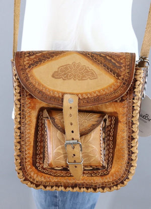 Vintage 1970s Leather Bag with Horses and Dolphins - ThisBlueBird