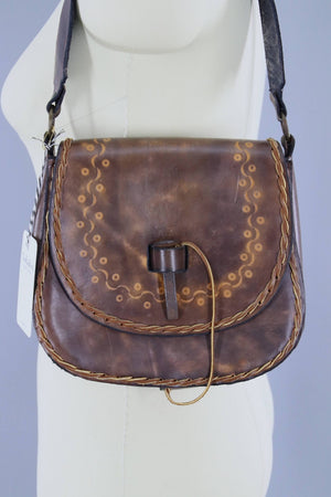 Vintage 1970s Tooled Leather Shoulder Bag Handbag Accessories ThisBlueBird
