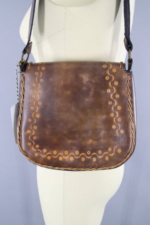 Vintage 1970s Tooled Leather Shoulder Bag Handbag - ThisBlueBird