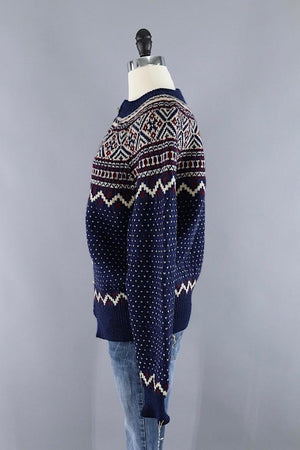 Vintage 1970s Wool Danish Fair Isle Sweater - ThisBlueBird
