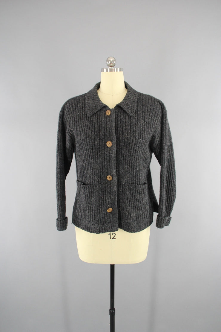 Vintage 1970s Woolrich Charcoal Grey Wool Cardigan Sweater Tops ThisBlueBird
