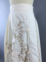 Vintage 1970s Wrap Circle Skirt with Ivory Floral Embroidery Bottoms ThisBlueBird