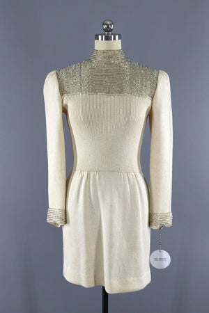 Vintage 1980s Beaded Ivory Knit Sweater Dress / Marie Gray St. John Dress ThisBlueBird