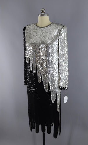 Vintage 1980s Black and Silver Sequined Flapper Dress-ThisBlueBird - Modern Vintage