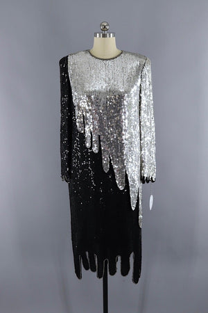 Vintage 1980s Black and Silver Sequined Flapper Dress