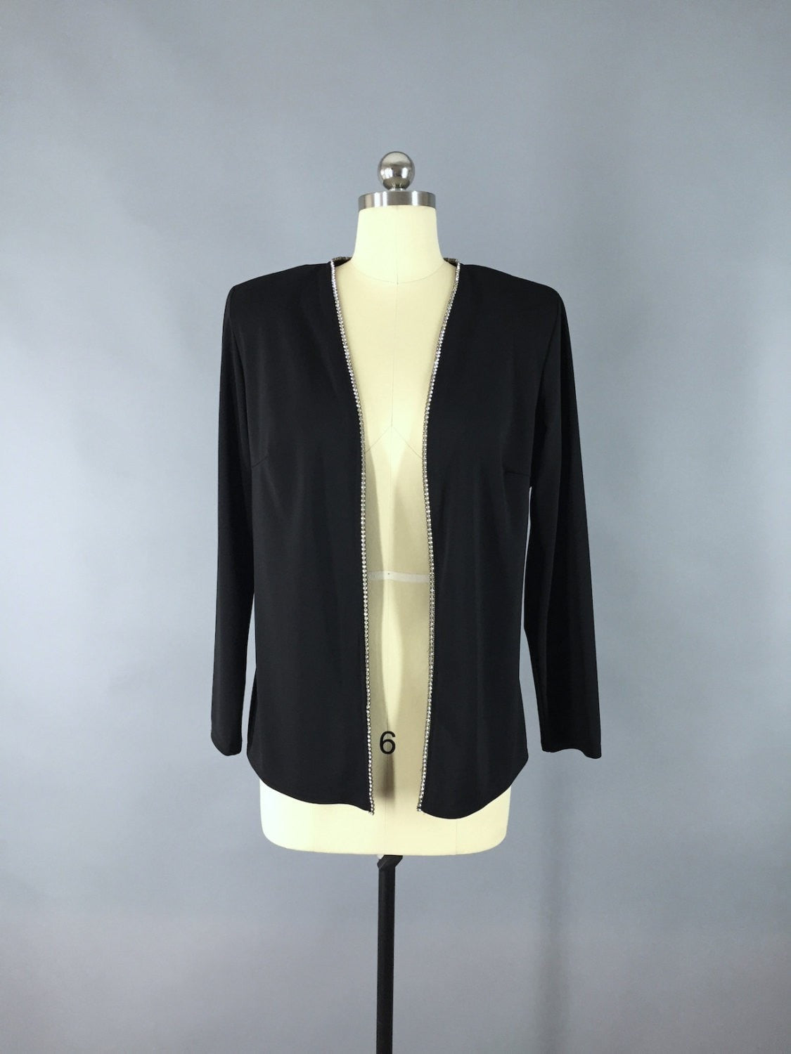 Vintage 1980s Black Crepe and Rhinestones Cardigan Jacket Outerwear ThisBlueBird - Sale